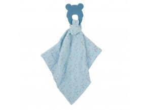 NATTOU Silikónová hryzačka bez BPA s bavlnenou dečkou 28 x 28 cm blue