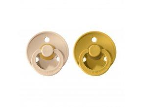 BIBS Colour cumlíky z prírodného kaučuku 2ks – veľkosť 1 vanilla/mustard