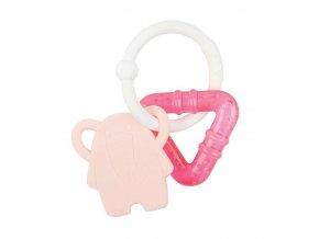 NATTOU Hryzačka silikónová s chladiacou časťou bez BPA ružový sloník