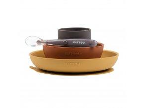 NATTOU Set jedálenský silikonový 4 ks hnedo-terakotový bez BPA