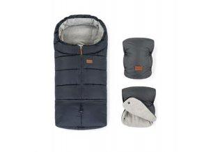 PETITE&MARS Zimný set fusak Jibot 3v1 + rukavice na kočík Jasie Charcoal Grey