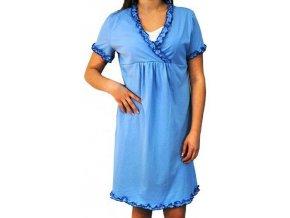 Tehotenská, dojčiace nočná košeľa s volánikom - modrá