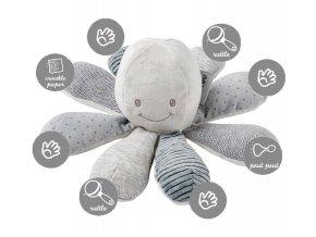 Hračka chobotnička edukačná 8 aktivít - grey