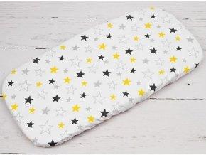 Plachta do kočíka žlto sivé hviezdy na bielom