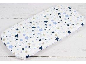 Plachta do kočíka béžovo modré hviezdy na bielom
