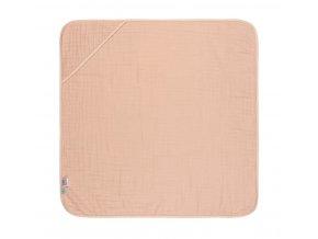 Mušelinová osuška Hooded Towel - light pink