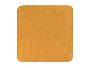 Mušelinová osuška Hooded Towel - mustard