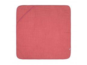 Mušelinová osuška Hooded Towel - rosewood