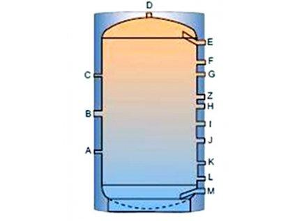 Akumulační nádrž TP bez výměníku - 1000l, bez izolace