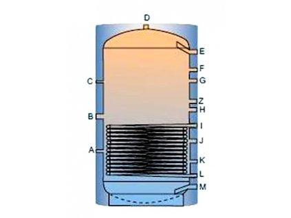 Akumulační nádrž TPR s jedním výměníkem - 1000l, bez izolace
