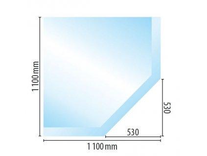 Sklo pod kamna G1, fazeta 10mm