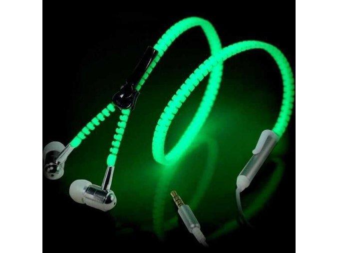 Svítící zipová sluchátka více barev
