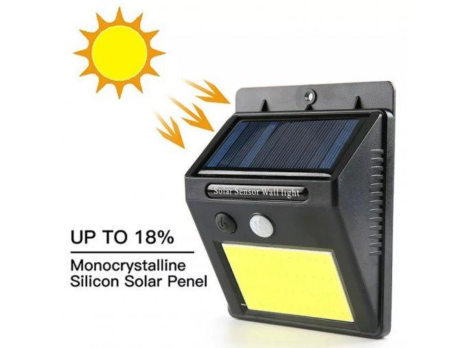 Venkovní solární LED COB svítidlo se pohybovým čidlem