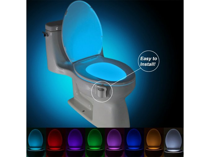 Led světlo na toaletu 8 barev s pohybovým čidlem