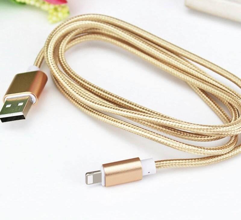 Micro USB kabel pleteny nylon 1m zlatý - Poštovné zdarma