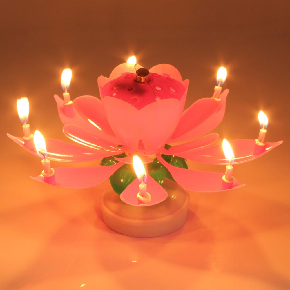 Eletrické hudební svíčky pro narozeninový dort - Poštovné zdarma Barva: Růžová