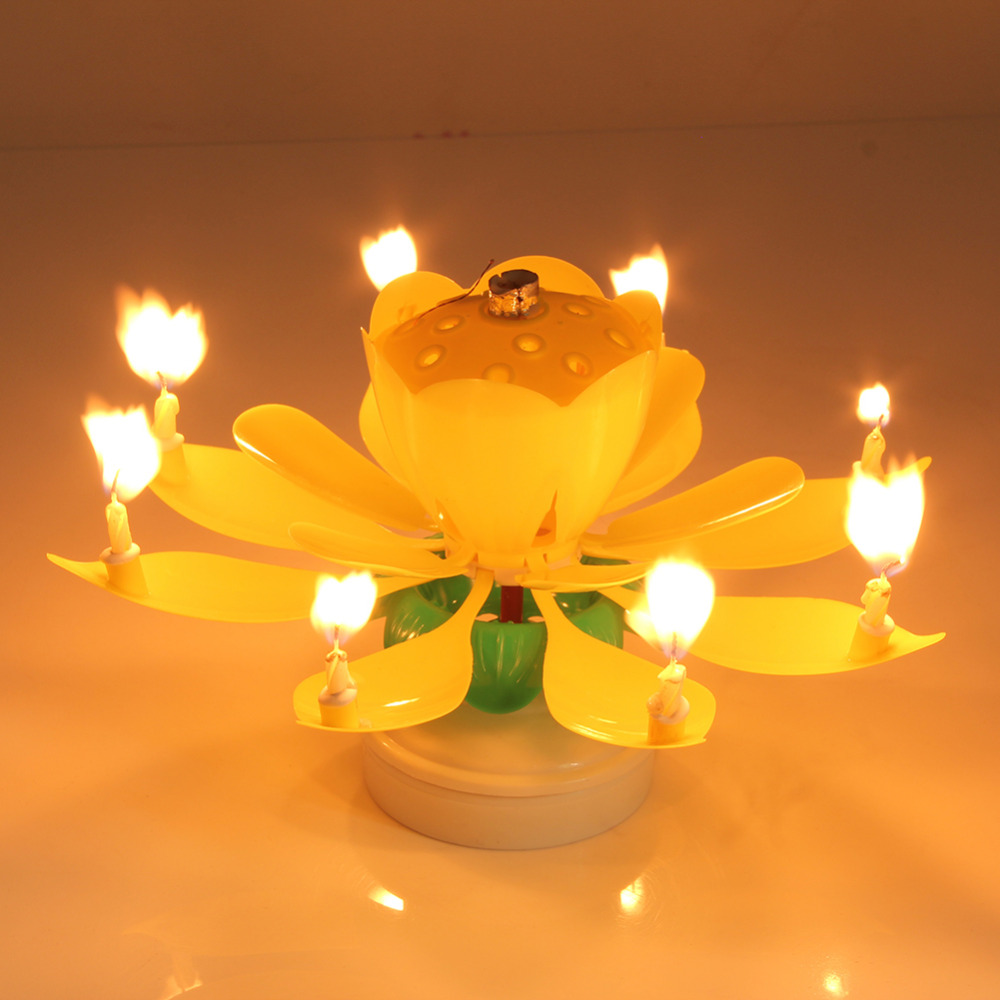 Eletrické hudební svíčky pro narozeninový dort - Poštovné zdarma Barva: Žlutá