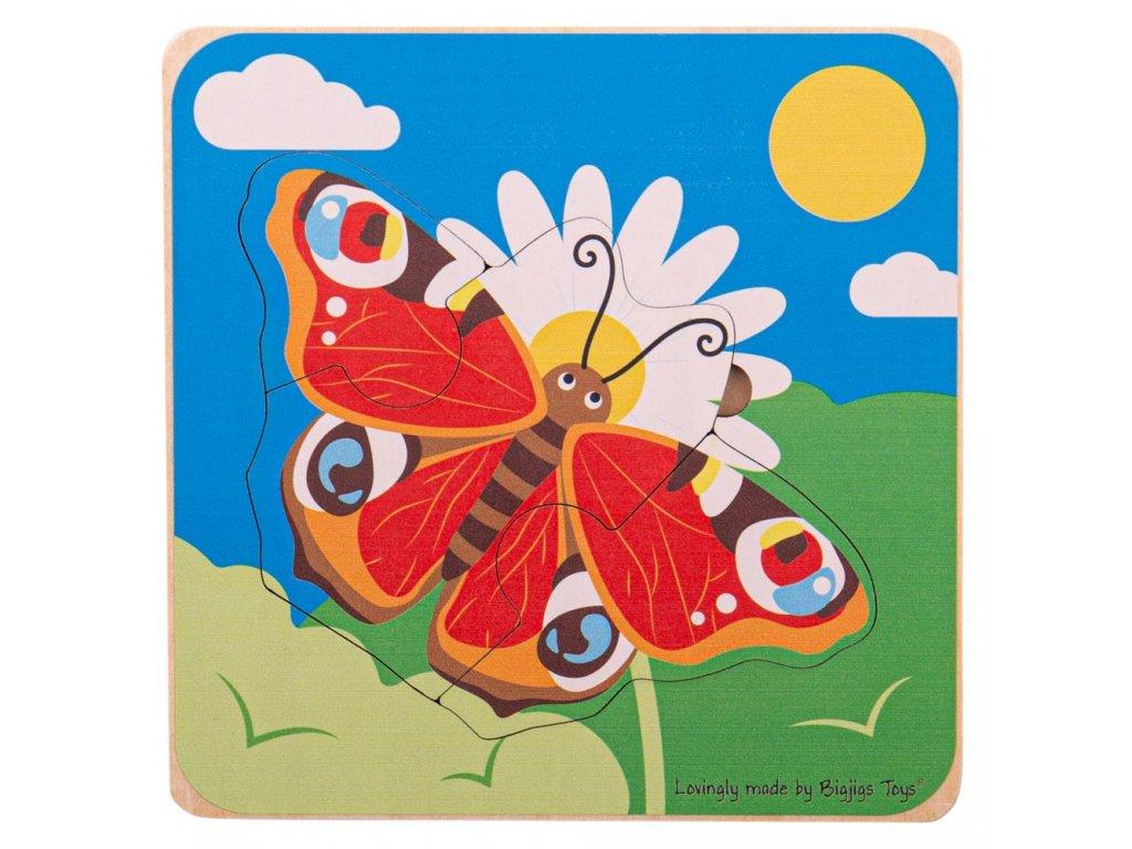 Bigjigs Toys Vkládací puzzle životní cykly motýla
