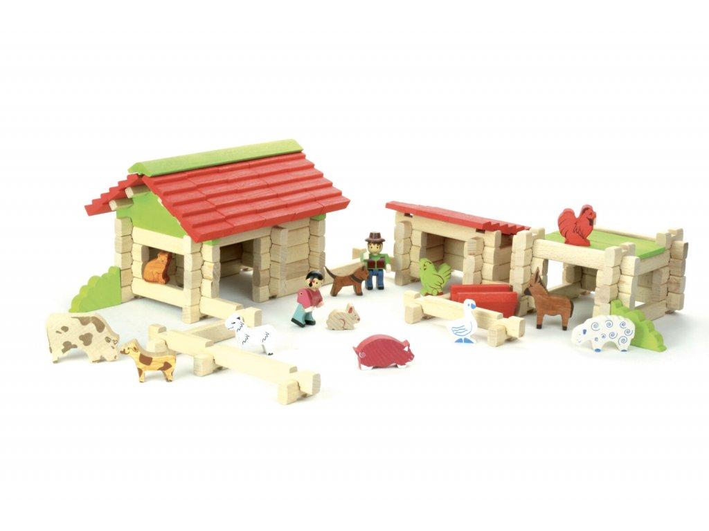 Jeujura Dřevěná stavebnice 120 dílků farma
