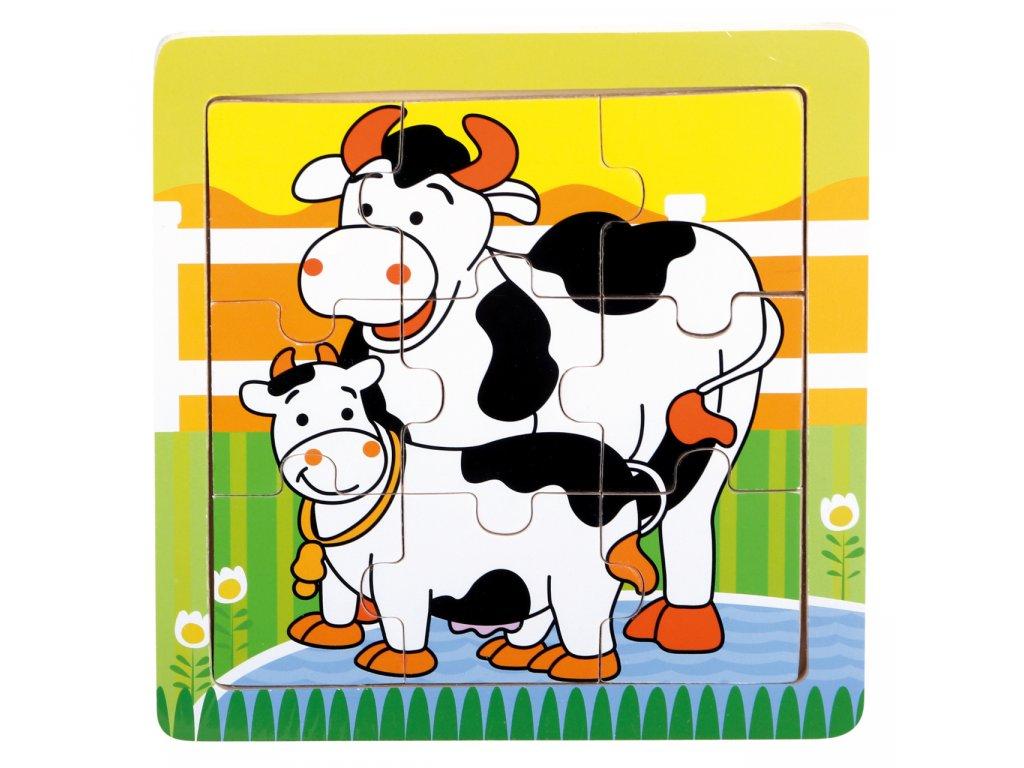 Bino Dřevěné puzzle kravičky
