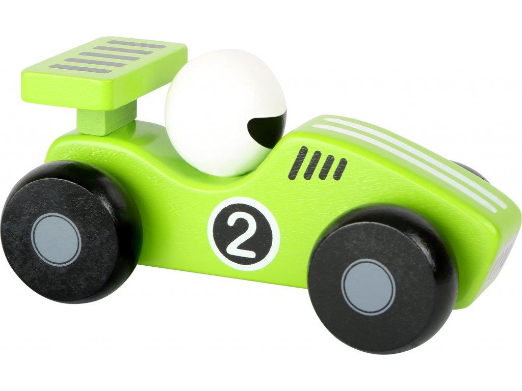 Dřevěné závodní autíčko - 1 ks zelené