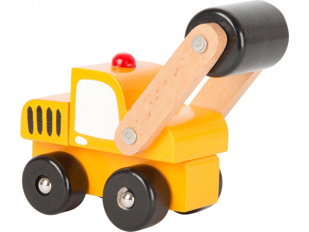 Dřevěná autíčka - Stavební stroje 1 ks válec Dřevěná autíčka - Stavební stroje 1 ks válec