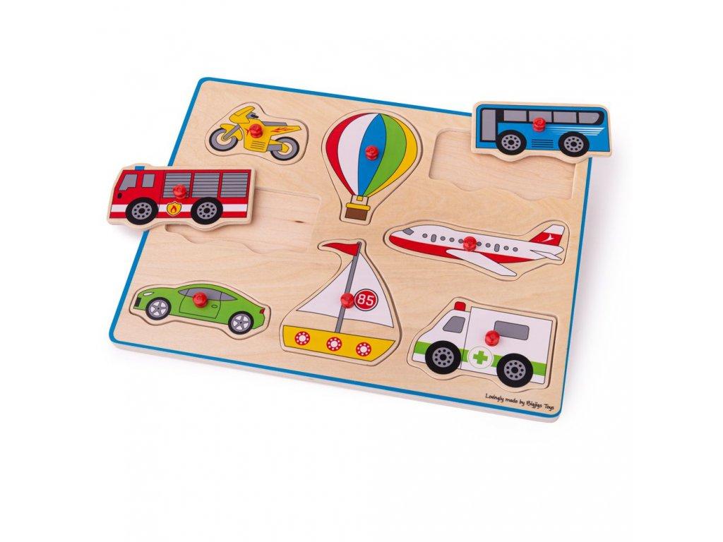 Bigjigs Toys Vkládací puzzle dopravní prostředky
