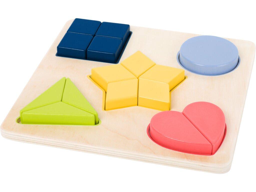 Small Foot Dřevěná edukativní puzzle tvary