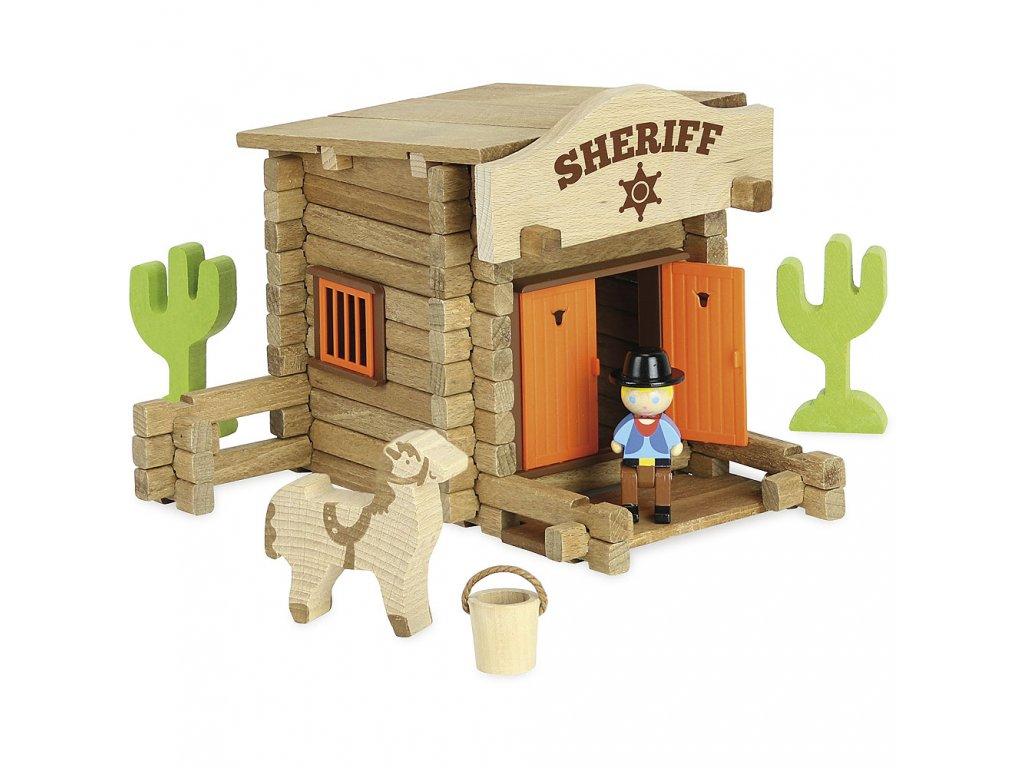 Jeujura Dřevěná stavebnice 80 dílů Sheriffská stanice