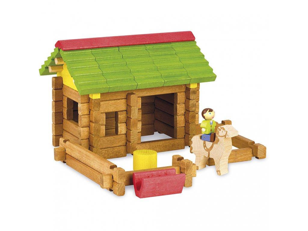 Jeujura Dřevěná stavebnice 64 dílů Stáj