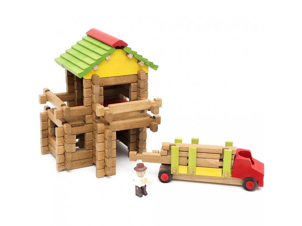 Jeujura Dřevěná stavebnice 94 dílů Dřevařská pila s tahačem