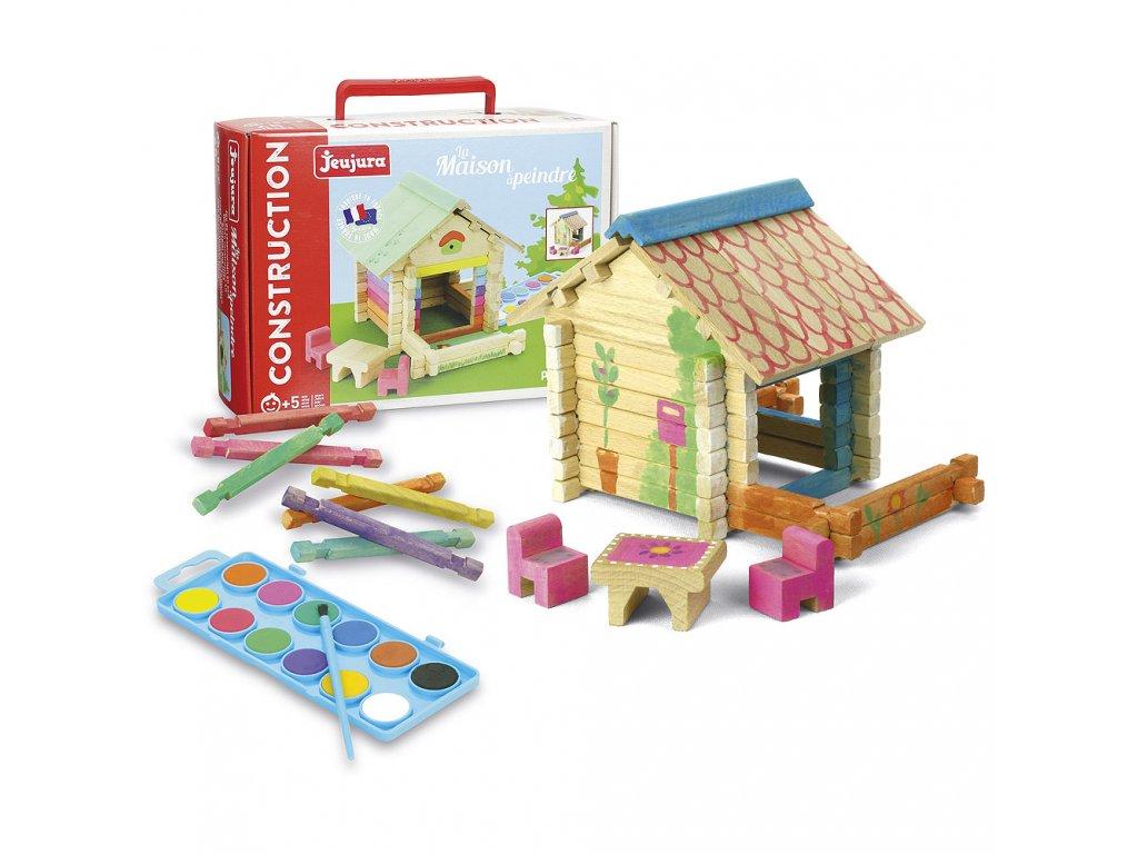 Jeujura Dřevěná stavebnice 65 dílků domeček s barvami