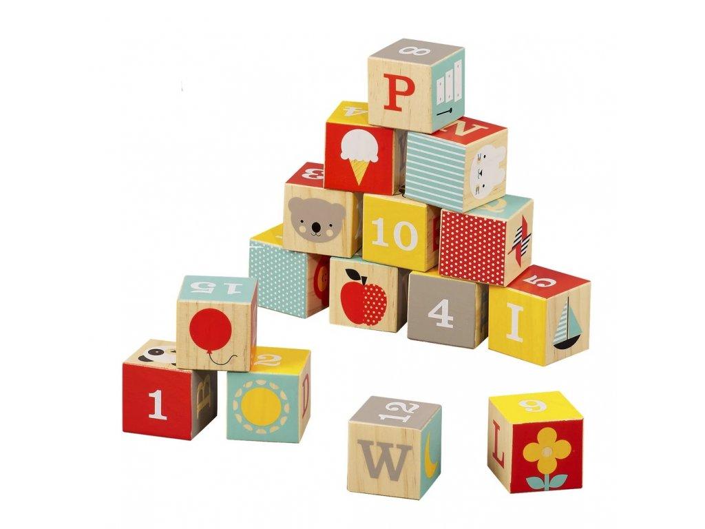 Petit Collage Dřevěné kostky ABC