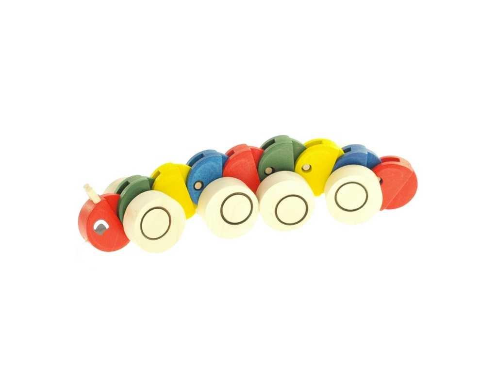 Dřevěná tahací hračka - Housenka barevná