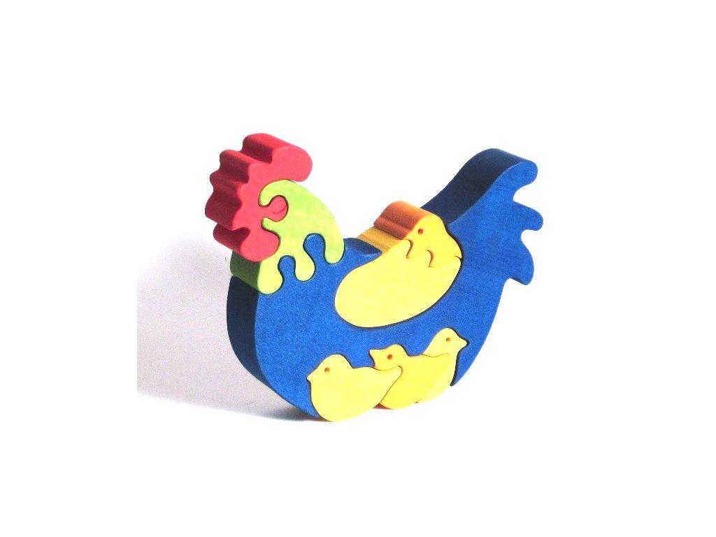 Fauna Dřevěné vkládací puzzle z masivu slepička s kuřátky