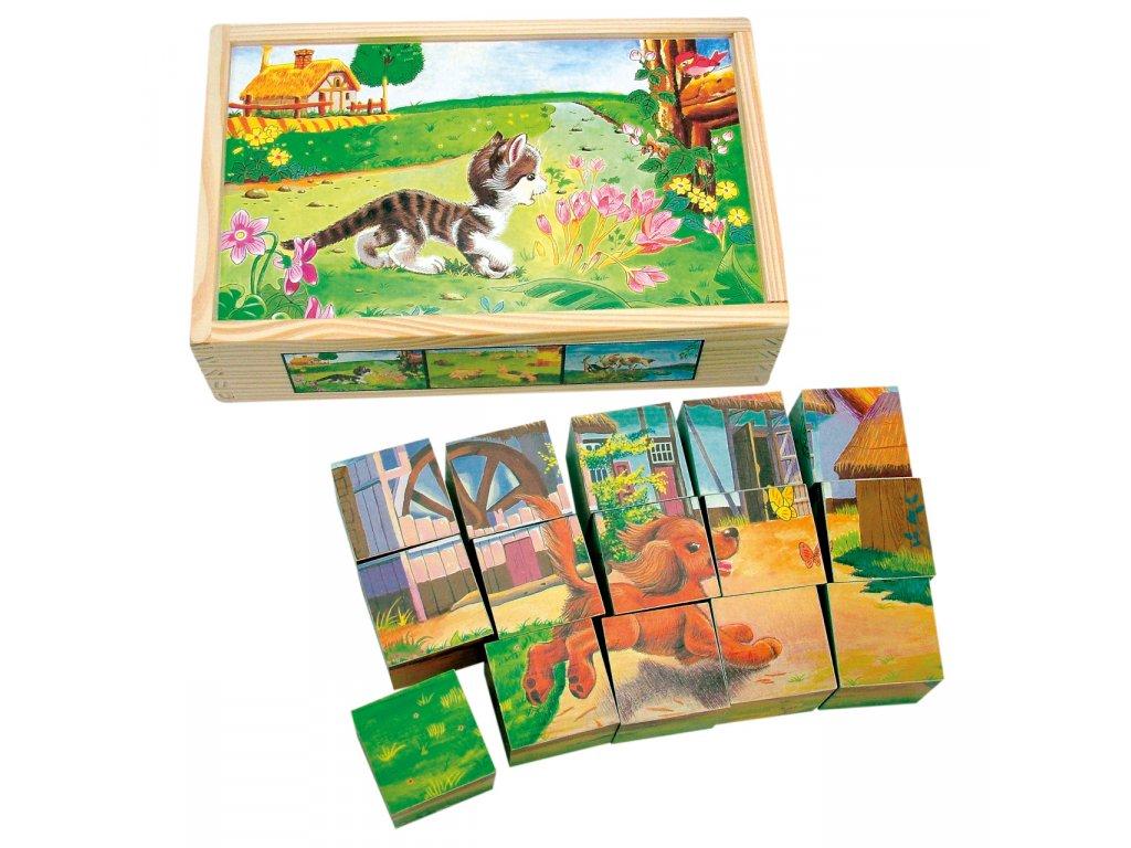 Bino Dřevěné obrázkové kostky domácí zvířátka 15 dílů