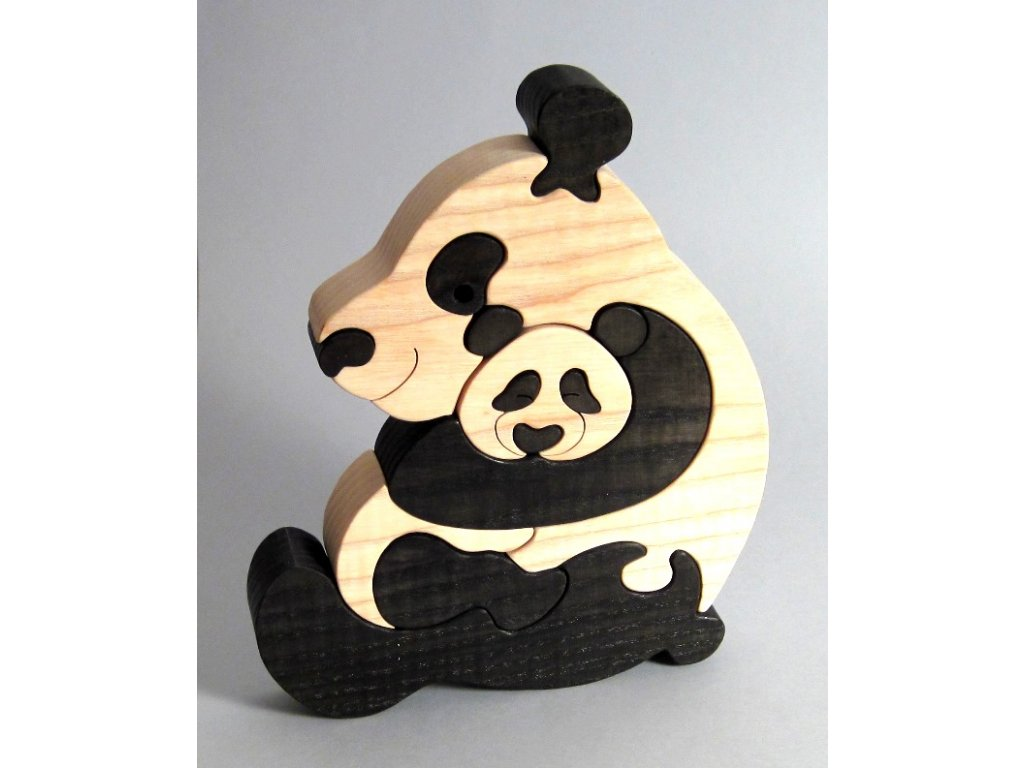 Fauna Dřevěné vkládací puzzle z masivu pandy