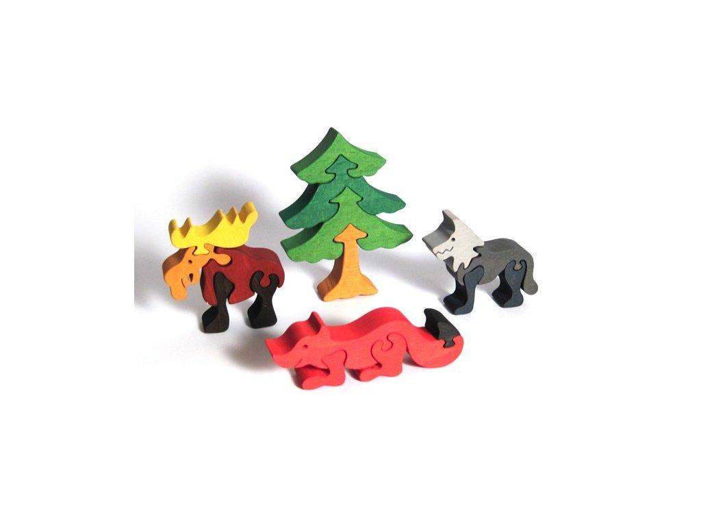 Fauna Dřevěné vkládací puzzle z masivu sada lesní zvířátka 4 ks