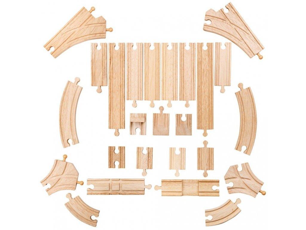 Bigjigs Rail Dřevěné koleje set 25 dílů
