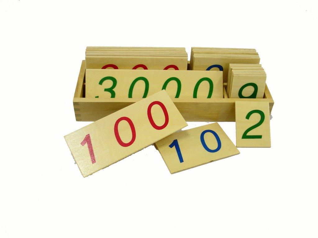 Velké dřevěné karty s čísly 1-3000