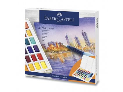 Akvarelové barvy Faber-Castell s paletkou 48 barev