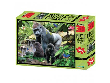 Puzzle 3D 500 dílků, gorily, sloni, Řím, oceán, džungle, zvířecí párty