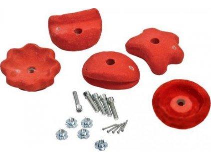 Lezecké úchyty (kameny) z pryskyřice - malé, červené, sada 5ks