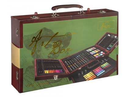Umělecký kufřík dřevěný naplněný