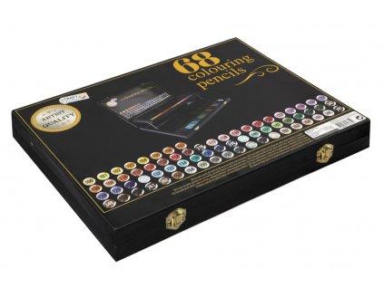 Dřevěný malířský kufřík s pastelkami 68 ks