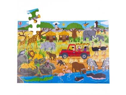 Bigjigs Toys Podlahové puzzle Africké dobrodružné 48dílků