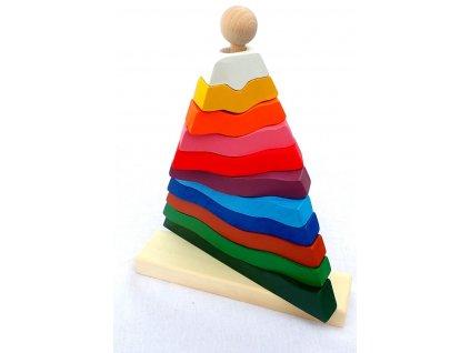 Fauna dřevěná pyramida rozlišování barev