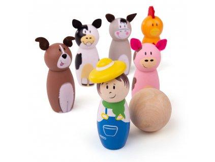 Bigjigs Toys Dřevěné kuželky farma