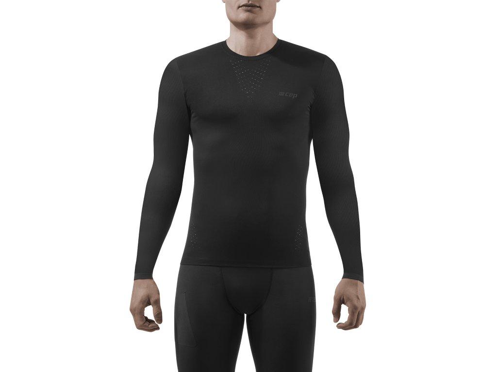 Run Ultralight Shirt LS black m front model 1536x1536px