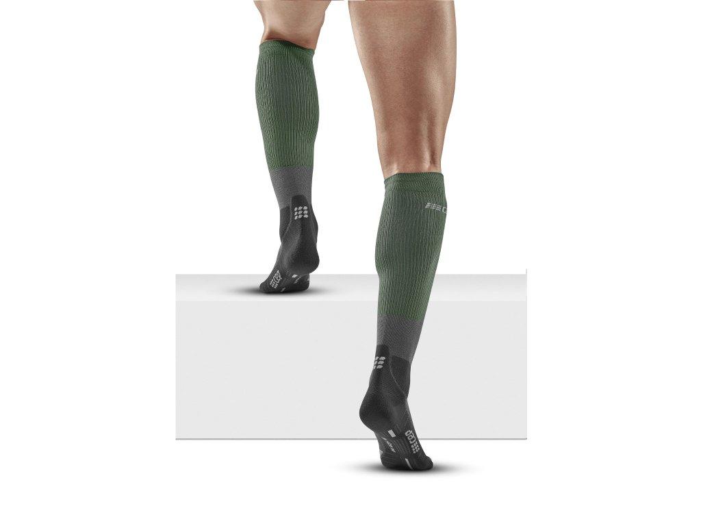 Hiking Merino Socks forestgreen grey m front model 1536x1536px